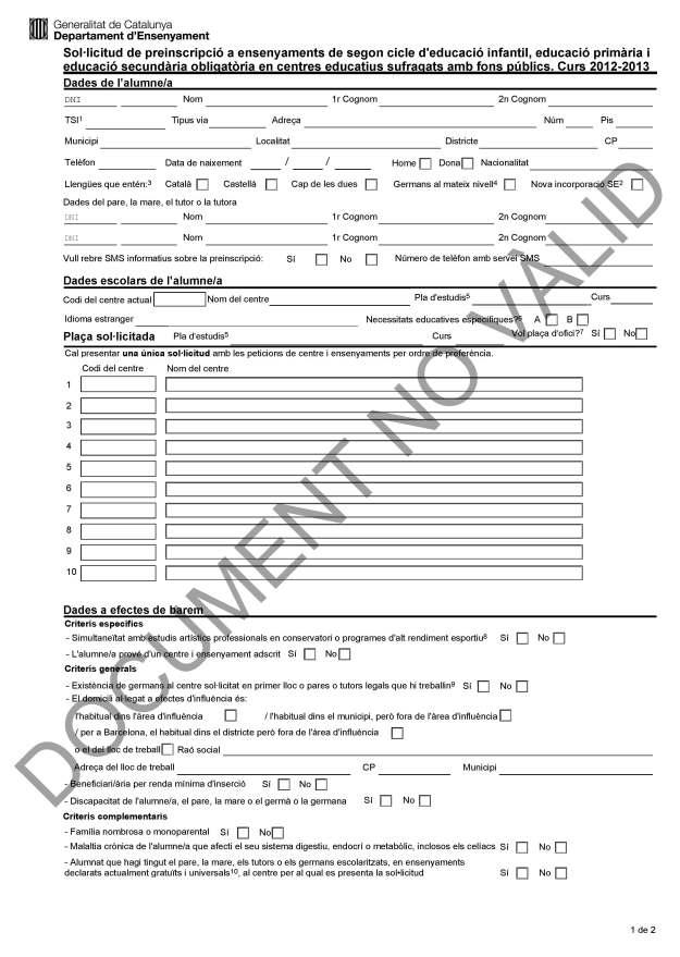 Formulari preinscripció curs 2012-2013
