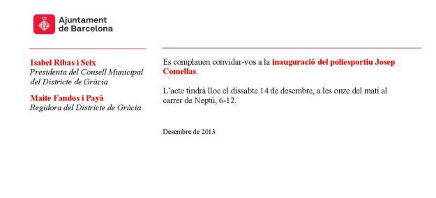 Invitació Inauguració del poliesportiu Josep Comellas (14-12-13)